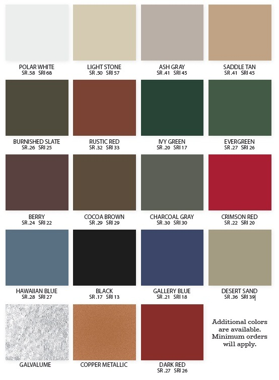 Metal Roofing Color Palette