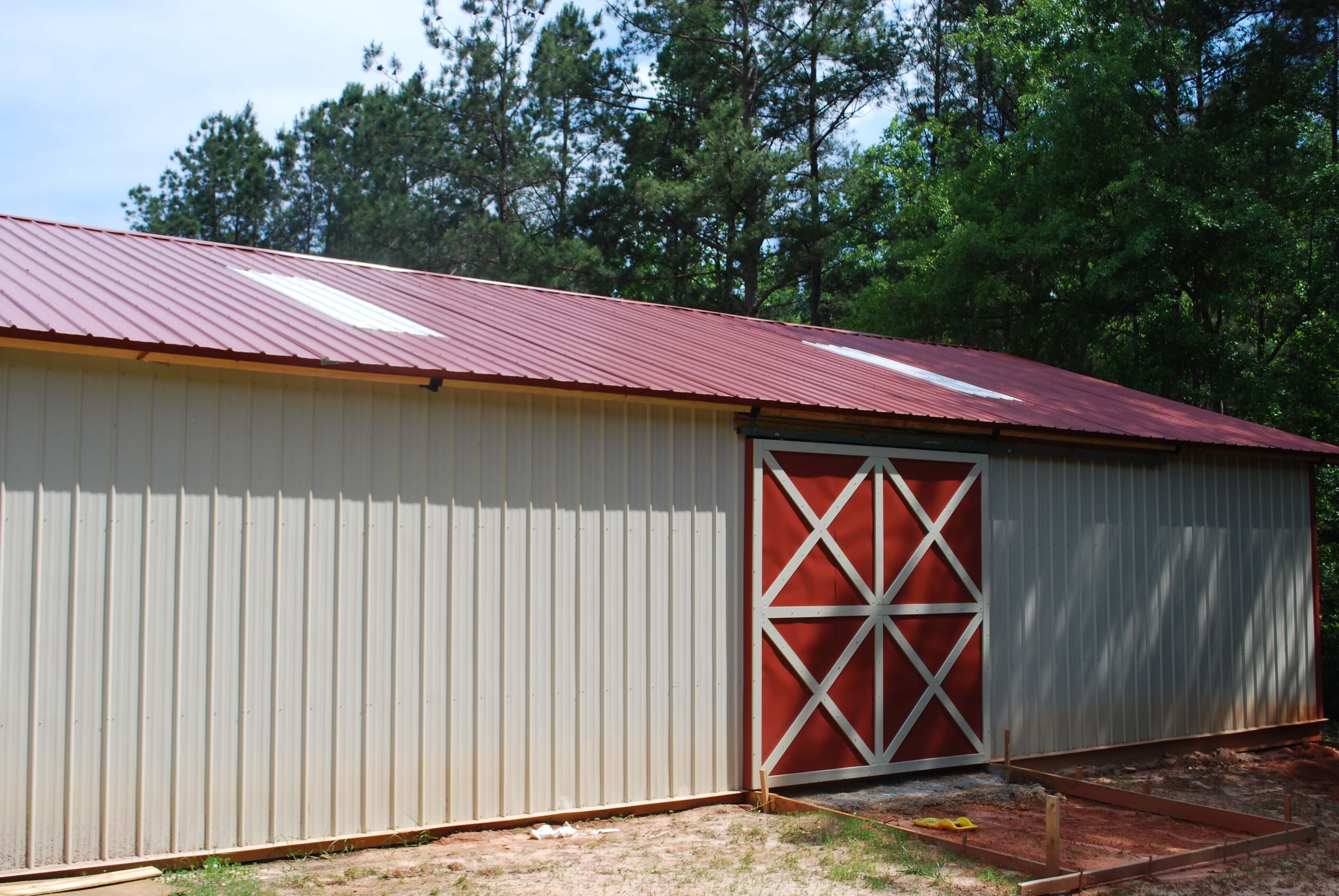 Open shelter and fully enclosed metal pole barns smith built for Large pole barn