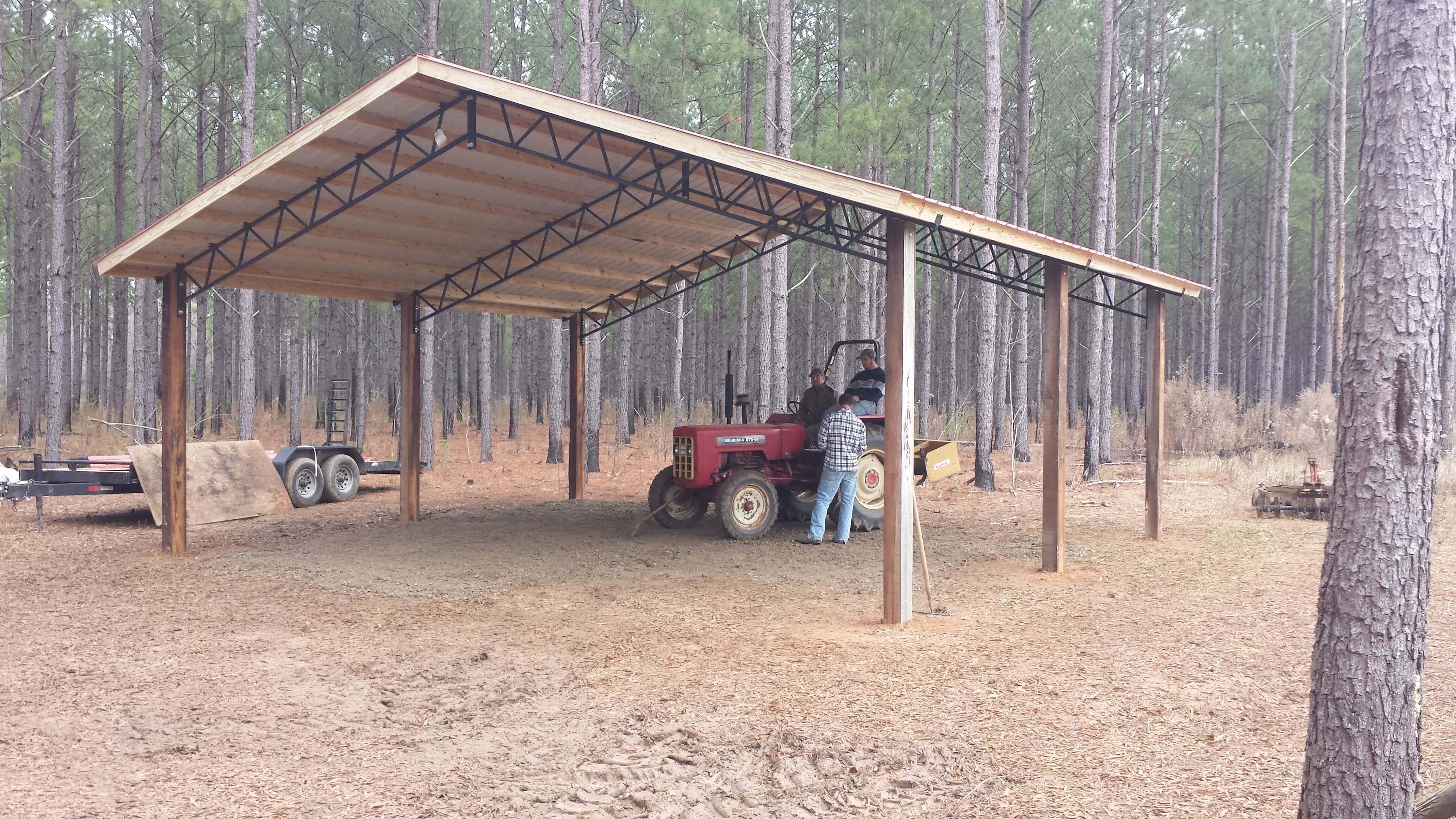 Open shelter and fully enclosed metal pole barns smith built for Pole barns ontario